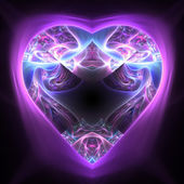 Shiny colorful heart on dark background, fractal art for valentine's day — Foto Stock