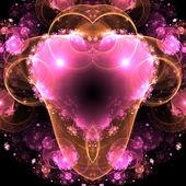 Corazón fractal colorido brillante, un diseño elegante y con estilo de san valentín — Foto de Stock