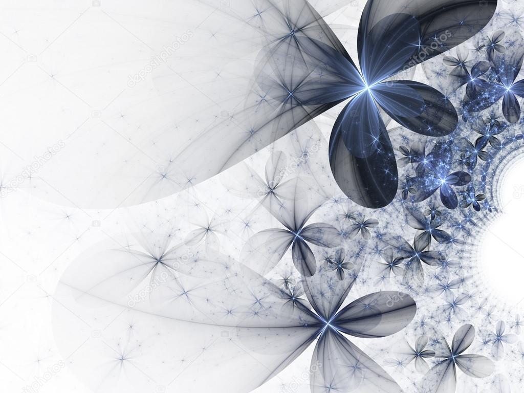 Dark Blue And White Flowers: Fleurs Brillants Bleus Foncé Sur Fond Blanc, Design D'art