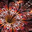 Shiny and glittering colorful fractal flower, digital art — Stock Photo