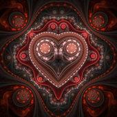 Un orologio valentino movente, cuore del frattale, arte digitale — Foto Stock