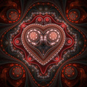 Clockwork valentine's day motive, fractal heart, digital art — Stock Photo