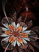 Flor brillante fractal naranja y plata sobre fondo negro — Foto de Stock