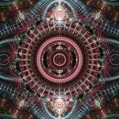 Kleurrijke uurwerk, steampunk thema tijdmachine, digitale fractal kunst — Stockfoto