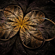 Glittering shiny golden fractal flower on dark background, digital art — Stock Photo