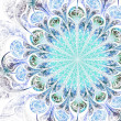 Light blue fractal flower, digital artwork for creative graphic design — ストック写真
