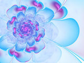 Blue and purple fractal flower, digital artwork for creative graphic design — Stock Photo