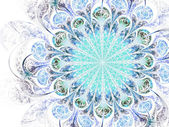 Light blue fractal flower, digital artwork for creative graphic design — Stock Photo