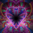 Colorful fractal heart, digital artwork for creative graphic design — ストック写真