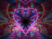 Colorful fractal heart, digital artwork for creative graphic design — Stock Photo