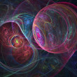 Stock Photo: Colorful fractal spider net, cosmic spheres, creative digital artwork