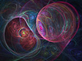 Colorful fractal spider net, cosmic spheres, creative digital artwork — Zdjęcie stockowe