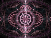 Star themed pink fractal clockwork, digital artwork for creative graphic design — Stock Photo