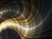 Shiny golden curved fractal lines, digital artwork for creative graphic design — Zdjęcie stockowe