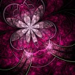Dark vivid purple fractal flower, digital artwork for creative graphic design — Foto Stock #30328335