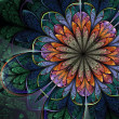 Photo: Colorful dark fractal flower, digital artwork for creative graphic design