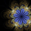 Blue and gold fractal flower, digital artwork for creative graphic design — Stock Photo