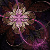 Flor de fractal rosa oscuro, obra de arte digital para diseño gráfico creativo — Foto de Stock