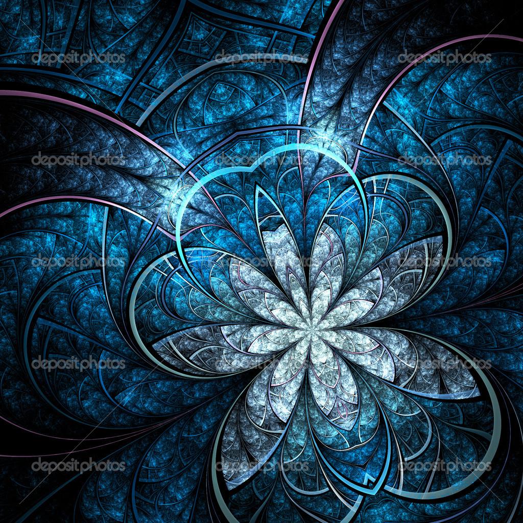 Fractal Black Flower Free Stock Photo: Dark Vivid Blue Fractal Flower, Digital Artwork For