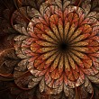 Stock Photo: Warm colored fractal flower, digital artwork for creative graphic design