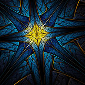 Cruz azul y oro fractal, ilustraciones digitales para diseño gráfico creativo — Foto de Stock