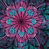 Pink and blue fractal flower, digital artwork for creative graphic design — Stock Photo