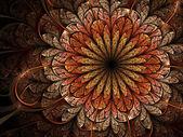 Warm colored fractal flower, digital artwork for creative graphic design — Stock Photo