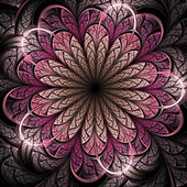 Dark pink fractal flower, digital artwork for creative graphic design — Stock Photo