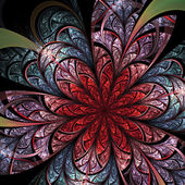 Dark red fractal flower, digital artwork for creative graphic design — ストック写真