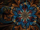 Dark gold fractal flower, digital artwork for creative graphic design — Stock Photo