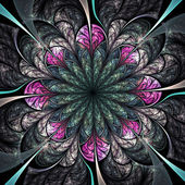 Dark fractal flower, digital artwork for creative graphic design — 图库照片