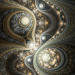 Glossy gold fractal clockwork, digital artwork for creative graphic design — Stock Photo