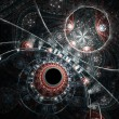 Stock Photo: Dark fractal clockwork, time machine, digital artwork for creative graphic design