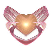 Glossy pink and gold fractal heart, digital artwork for creative graphic design — Stock Photo
