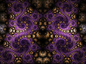 Dark symmetrical fractal swirls, digital artwork for creative graphic design — Stok fotoğraf