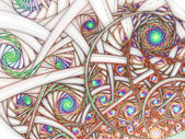 Light colorful fractal swirls, digital artwork for creative graphic design — Zdjęcie stockowe