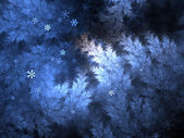 Fractal tree branches with falling snow in night, digital artwork for creative graphic design — Stock Photo