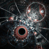 Dark fractal clockwork, time machine, digital artwork for creative graphic design — Stock Photo