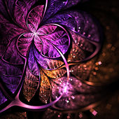 Dark purple fractal butterfly or flower, digital artwork for creative graphic design — Stock Photo