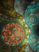 Colorful fractal clockwork, digital artwork for creative graphic design — Stock Photo