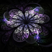 Purple fractal flower on dark background, digital artwork for creative graphic design — Stock Photo