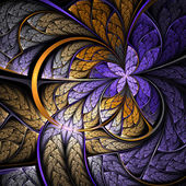 Purple and gold fractal butterfly or flower, digital artwork for creative graphic design — Stock Photo