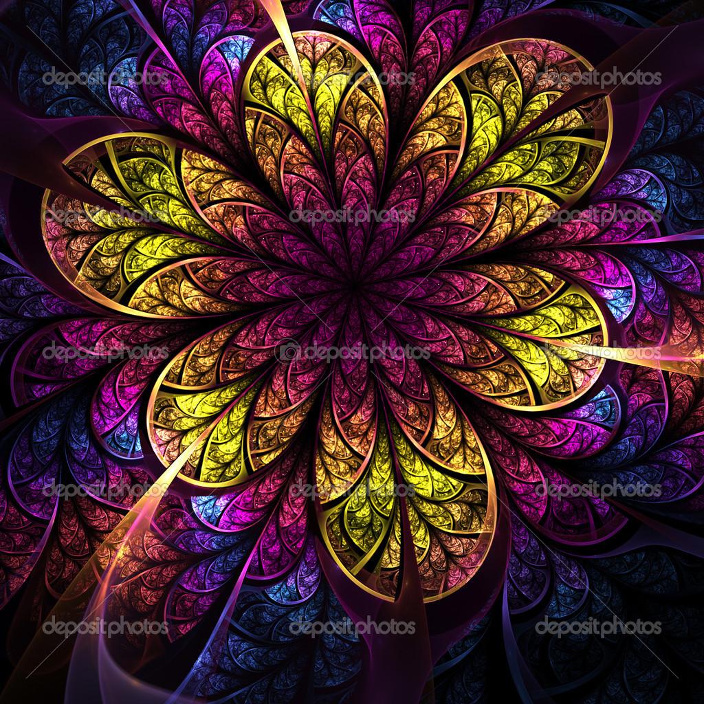 Fractal Black Flower Free Stock Photo: Bright Colorful Fractal Flower, Digital Artwork For