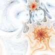 Soft orange fractal spirals, digital artwork for creative graphic design — Stock Photo