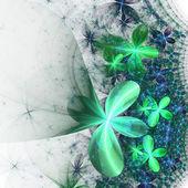 Sparkling green and blue fractal flower, digital artwork for creative graphic design — Stock Photo