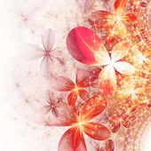 Sparkling gold and red fractal flowers, digital artwork for creative graphic design — Stock Photo