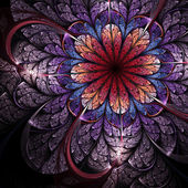 Colorful bright fractal flower, digital artwork for creative graphic design — Stock Photo
