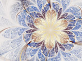 Light brown and blue fractal flower, digital artwork for creative graphic design — Zdjęcie stockowe
