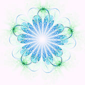 Light blue and green fractal flower, digital artwork for creative graphic design — ストック写真