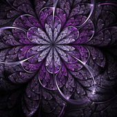 Fialový fraktální květina, digitální kresba pro kreativní grafický design — Stock fotografie